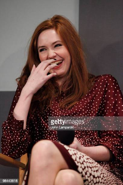 Karen Gillan visits the Apple Store Soho with the cast of Doctor Who on April 13 2010 in New York City