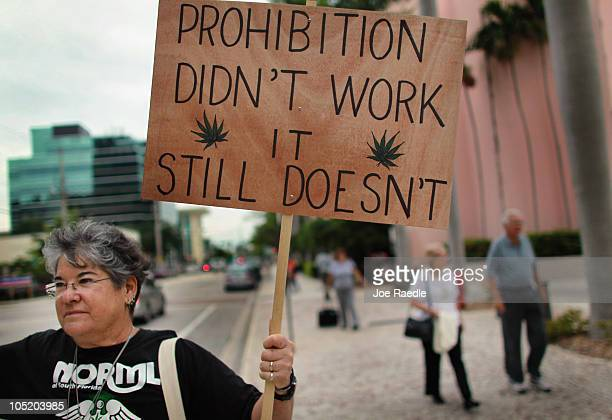 Karen Goldstein attends a rally for Florida Attorney General candidate Jim Lewis who is running on a platform of legalizing marijuana on October 12...