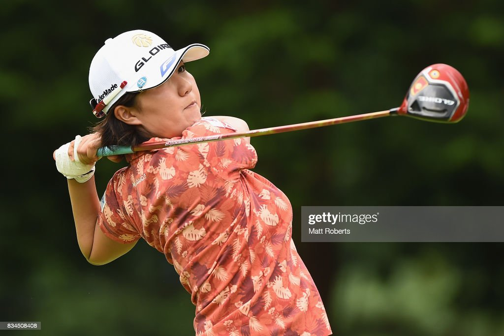 Karen Gondo of Japan hits her tee shot on the 4th hole during the first round of the CAT Ladies Golf Tournament HAKONE JAPAN 2017 at the Daihakone Country Club on August 18, 2017 in Hakone, Kanagawa, Japan.