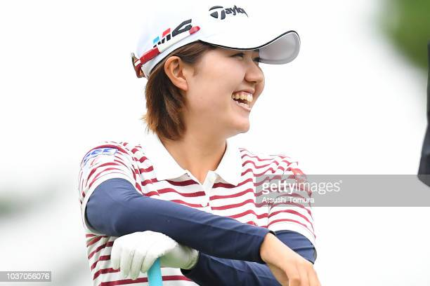 HaNeul Kim of South Korea smiles during the first round of the Miyagi TV Cup Dunlop Ladies Open at Rifu Golf Club on September 21 2018 in Rifu Miyagi...