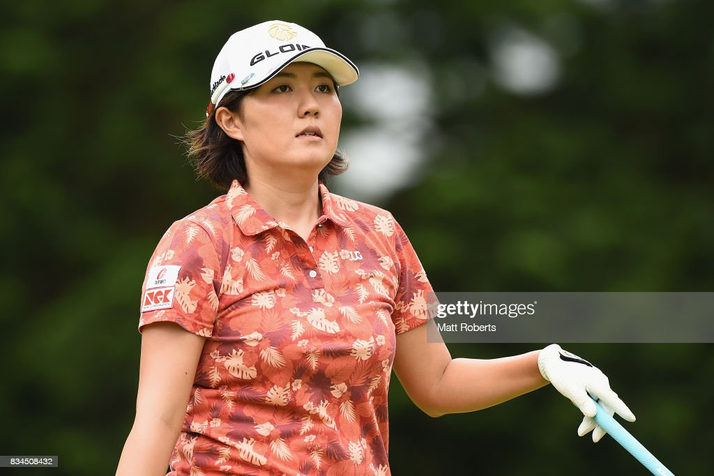 Karen Gondo of Japan watches her tee shot on the 4th hole during the first round of the CAT Ladies Golf Tournament HAKONE JAPAN 2017 at the Daihakone Country Club on August 18, 2017 in Hakone, Kanagawa, Japan.