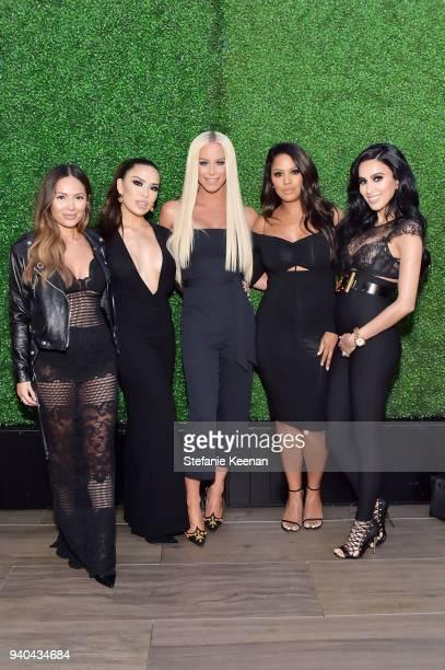Karen Gonzalez Gigi Gorgeous Shayla and Lilly Ghalichi attend KKWxMario Dinner at JeanGeorges Beverly Hills on March 31 2018 in Beverly Hills...