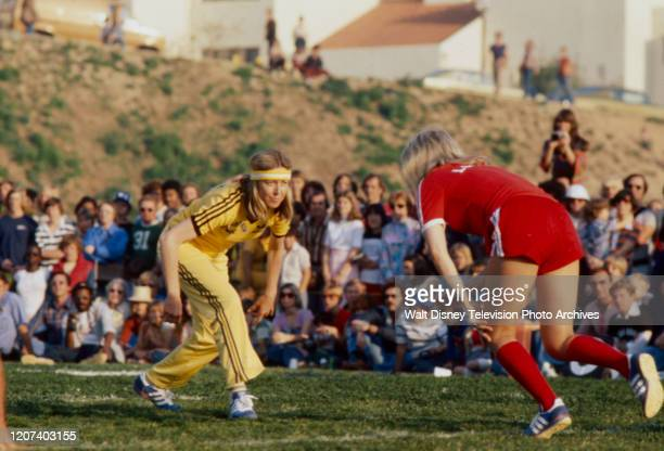 Karen Grassle competing in the soccer competition on the ABC tv series 'Battle of the Network Stars II'.