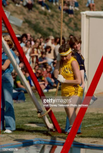Karen Grassle competing in the track and field competition on the ABC tv series 'Battle of the Network Stars II'.