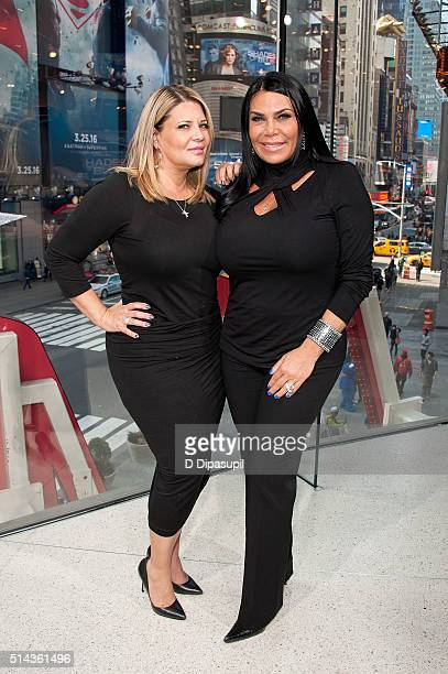 Karen Gravano and Renee Graziano of Mob Wives visit Extra at their New York studios at HM in Times Square on March 8 2016 in New York City