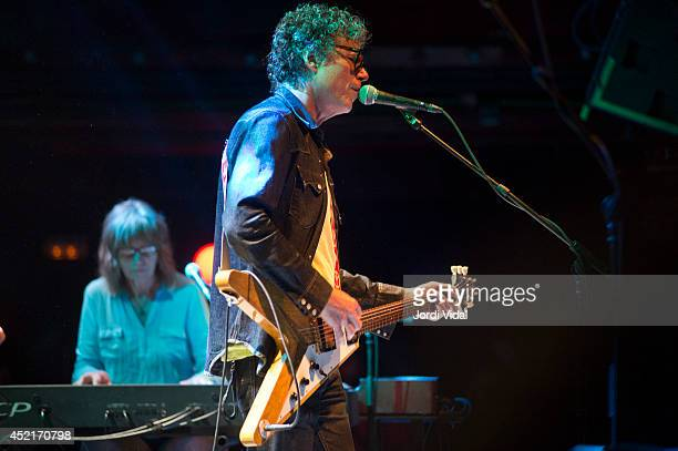 Karen Grotberg and Gary Louris of The Jayhawks perform on stage at Sala Apolo on July 14 2014 in Barcelona Spain