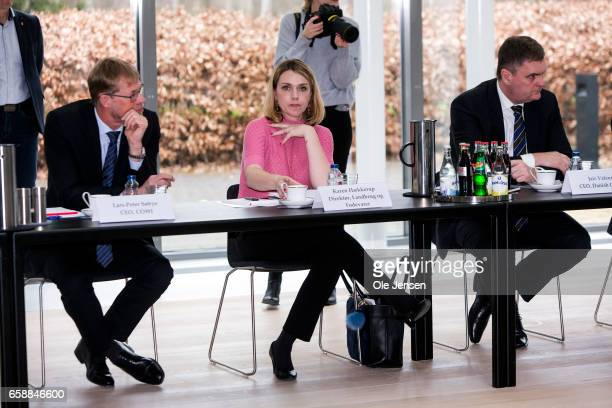 Karen Haekkerup CEO at Danish Agriculture and Food during Prime Minister Lars Loekke Rasmussen conference with industry and union leaders at his...