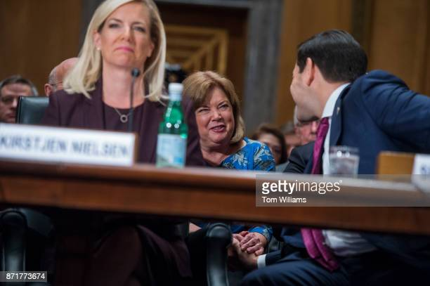 Karen Hernest Kelly the wife of White House Chief of Staff John F Kelly greets Sen Marco Rubio RFla during a Senate Homeland Security and...