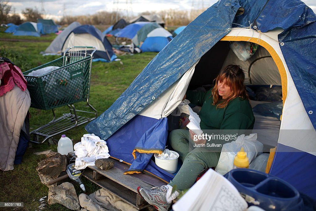 Karen Hersh an out of work truck driver cleans her tent at a homeless & Sacramento Tent City Fills Up Jobless And Homeless Photos and ...