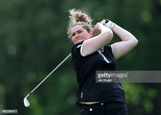 Karen Heywood of Brookdale GC tees off during the Glenmuir Women's PGA Professional Championship Qualifier at Little Aston Golf Club on May 19 2014...