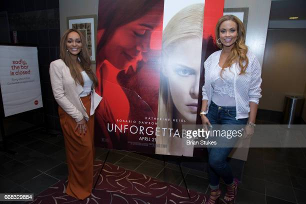 Karen Huger and Gizelle Bryant attend Unforgettable Screening at AMC Mazza Gallerie 14 on April 12 2017 in Washington DC