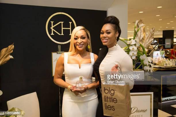Karen Huger and Monique Samuels attend La'Dame Fragrance Popup at Bloomingdales on May 11 2019 in Tysons Corner Virginia