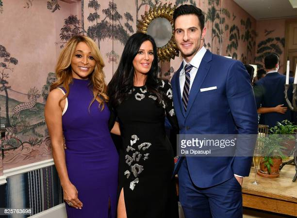 Karen Huger Patti Stanger and Daniel Maguire attend WE tv's Exclusive Premiere of Million Dollar Matchmaker Season 2 at the Whitby Hotel on August 2...