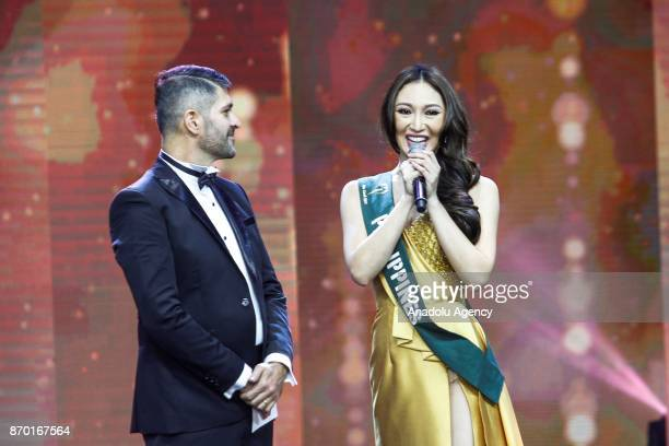 Karen Ibasco from the Philippines answers question in the QandA round during the Miss Earth 2017 coronation night at the Mall of Asia Arena in Pasay...