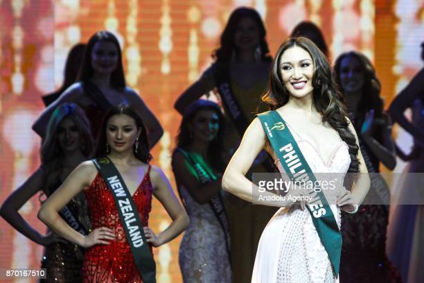 Karen Ibasco from the Philippines is seen on the stage during the Miss Earth 2017 coronation night at the Mall of Asia Arena in Pasay City south of...