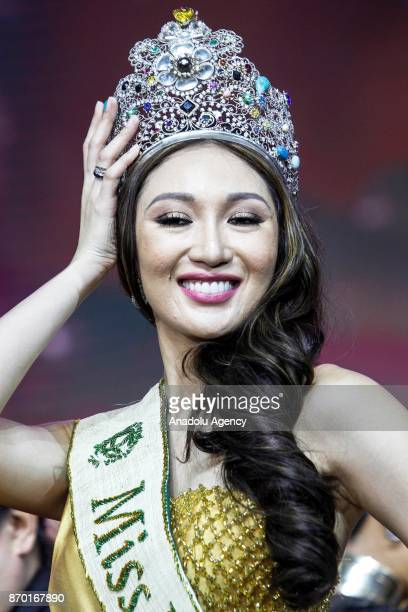 Karen Ibasco poses after getting crowned as the new Miss Earth 2017 during the coronation night at the Mall of Asia Arena in Pasay City south of...