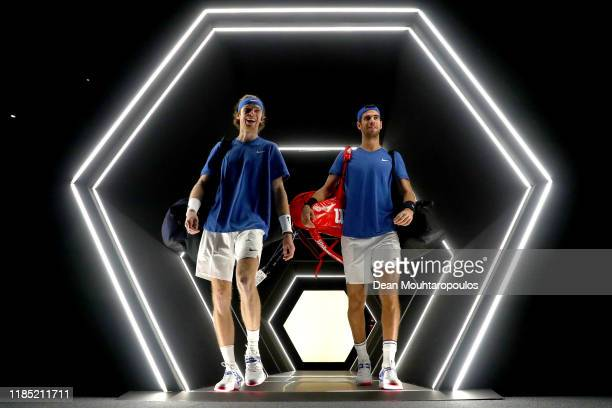 Karen Khachanov and Andrey Rublev of Russia walk out the players tunnel to play in their Final match against Pierre-Hugues Herbert and Nicolas Mahut...