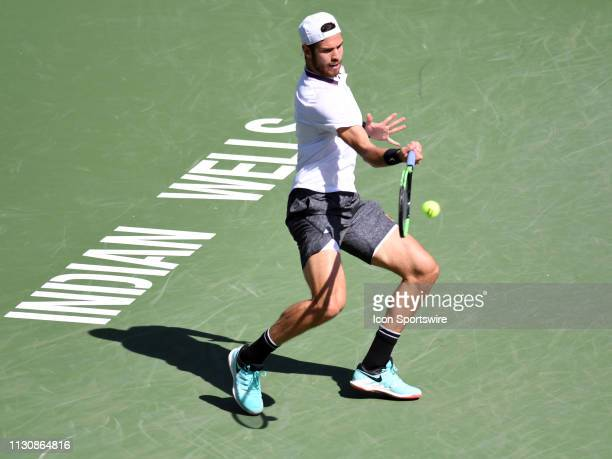 Karen Khachanov in action during his quarterfinal loss to Rafael Nadal in the men's singles championships on March 15 during the BNP Paribas Open at...