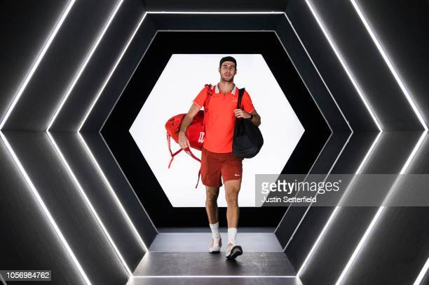 Karen Khachanov of Russia arrives for his Semi Final match against Dominic Thiem of Austria on Day 6 of the Rolex Paris Masters on November 3 2018 in...