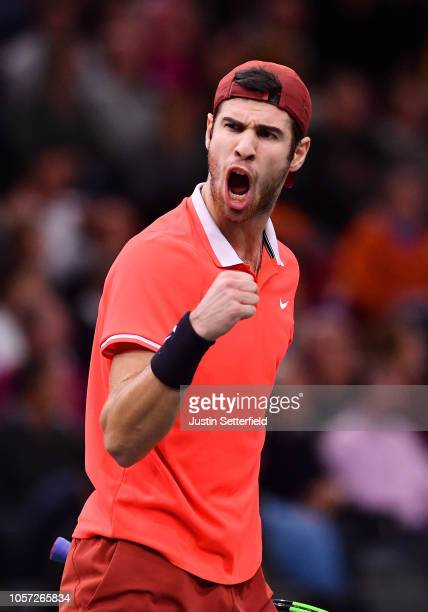 Karen Khachanov of Russia celebrates after he wins the first set during his match against Novak Djokovic of Serbia during the Men's Final during Day...