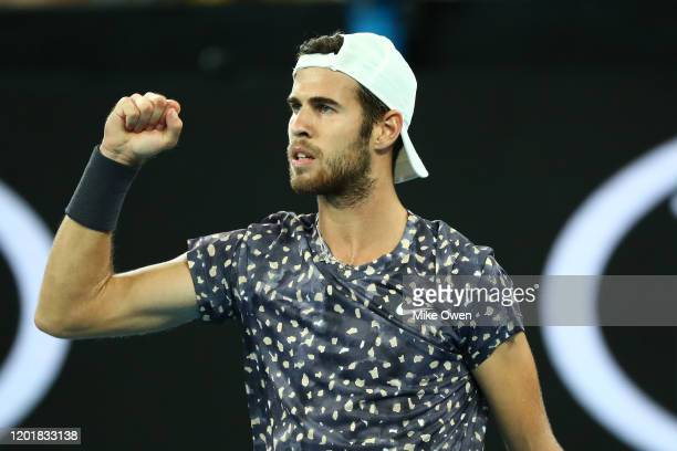 Karen Khachanov of Russia celebrates after winning the forth set during his Men's Singles third round match against Nick Kyrgios of Australia on day...