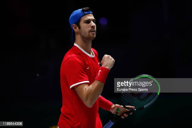 Karen Khachanov of Russia celebrates during his second round singles match of SemiFinals against Denis Shapovalov of Canada during the Day 6 of the...