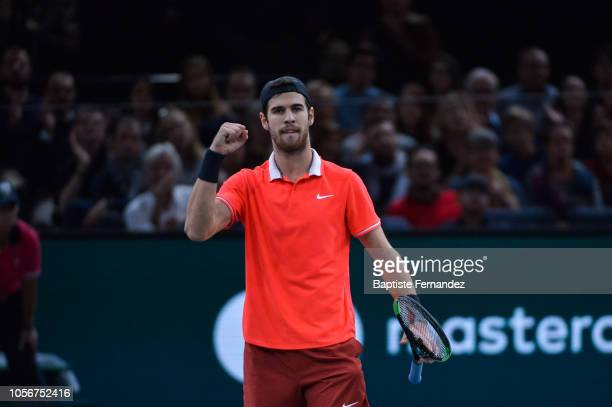 Karen Khachanov of Russia celebrates during semi final match on day 6 of the Rolex Paris Masters held at the AccorHotels Arena on November 3 2018 in...