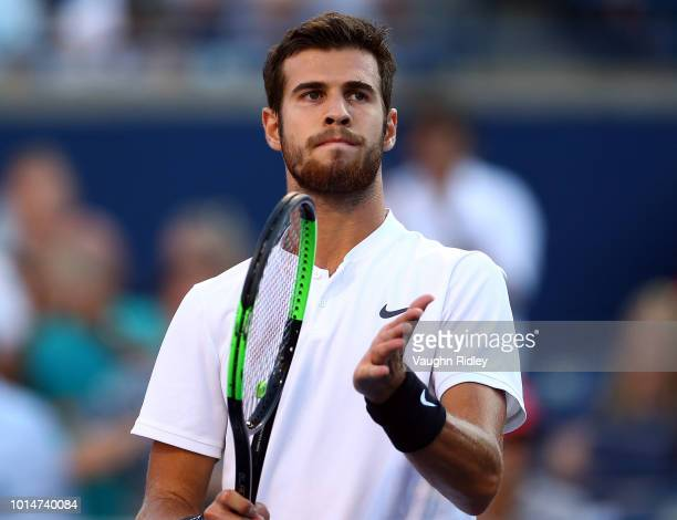 Karen Khachanov of Russia celebrates victory over Robin Haase of The Netherlands following a quarter final match on Day 5 of the Rogers Cup at Aviva...