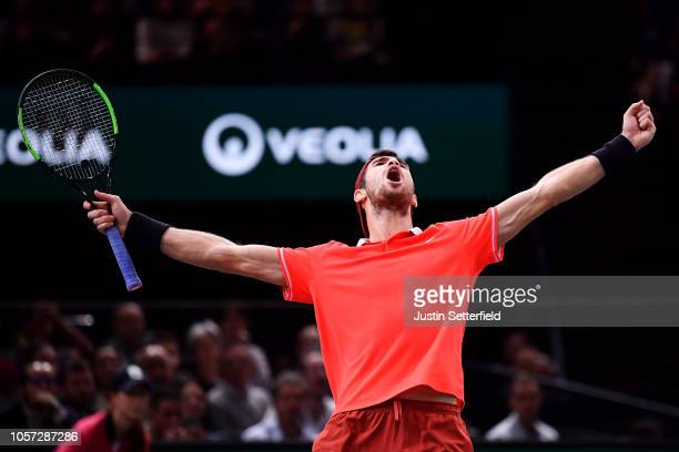 Karen Khachanov of Russia celebrates winning after match point in the Final against Novak Djokovic of Serbia during Day 7 of the Rolex Paris Masters...