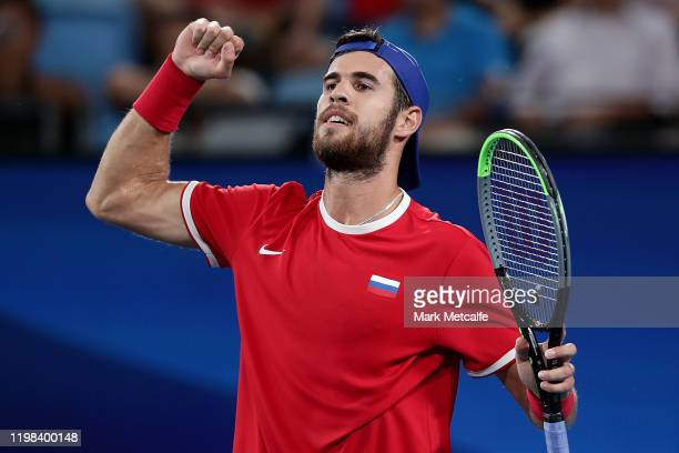 Karen Khachanov of Russia celebrates winning match point during his quarter final singles match against Guido Pella of Argentina during day seven of...