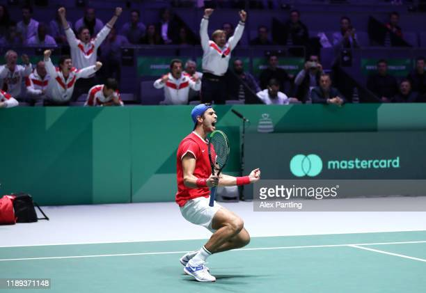 Karen Khachanov of Russia celebrates winning match point in their quarter final doubles match against Serbia on Day Five of the 2019 Davis Cup at La...