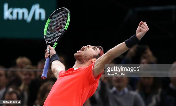 Karen Khachanov of Russia celebrates winning the Rolex Paris Masters 2018 on day 7 at the AccorHotels Arena in Bercy on November 4, 2018 in Paris,...