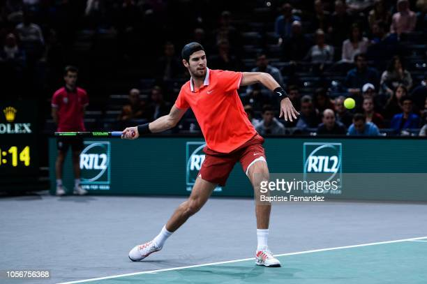 Karen Khachanov of Russia during semi final match on day 6 of the Rolex Paris Masters held at the AccorHotels Arena on November 3 2018 in Paris France