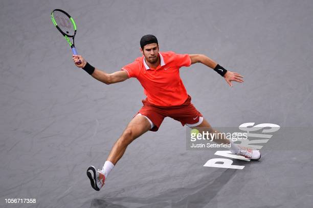 Karen Khachanov of Russia plays a forehand during his Semi Final match against Dominic Thiem of Austria on Day 6 of the Rolex Paris Masters on...