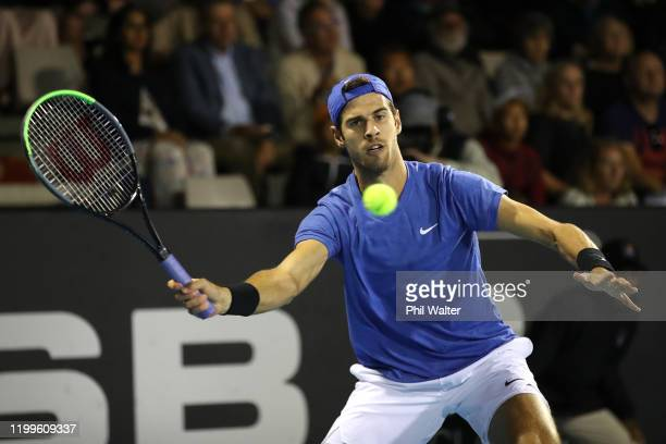 Karen Khachanov of Russia plays a forehand during his singles game against John Millman of Australia during day three of the 2020 Men's ASB Classic...