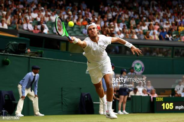 Karen Khachanov of Russia plays a forehand during the Gentlemen's Singles third round match against Rafael Nadal of Spain on day five of the...