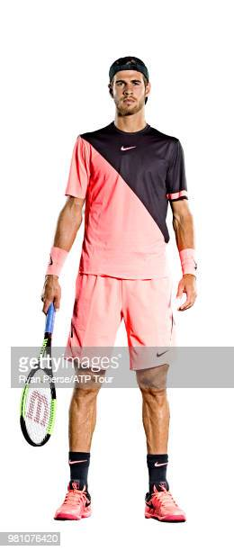 Karen Khachanov of Russia poses for portraits during the Australian Open at Melbourne Park on January 13 2018 in Melbourne Australia