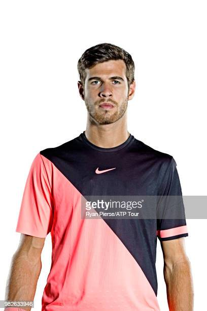 Karen Khachanov of Russia poses for portraits during the Australian Open at Melbourne Park on January 12 2018 in Melbourne Australia