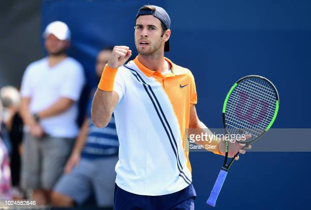 Karen Khachanov of Russia reacts in his mens singles first round match against Albert RamosVinolas of Spain on Day One of the 2018 US Open at the...