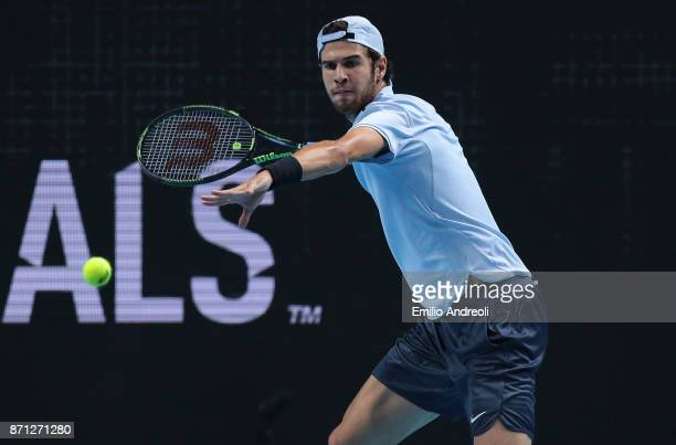 Karen Khachanov of Russia returns a forehand in his match against Daniil Medvedev of Russia during Day 1 of the Next Gen ATP Finals on November 7...