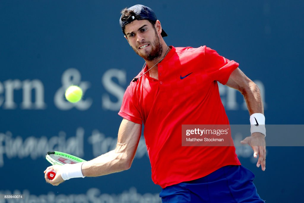 Karen Khachanov of Russia returns a shot to Yuichi Sugita of Japan during day 6 of the Western & Southern Open at the Lindner Family Tennis Center on August 17, 2017 in Mason, Ohio.