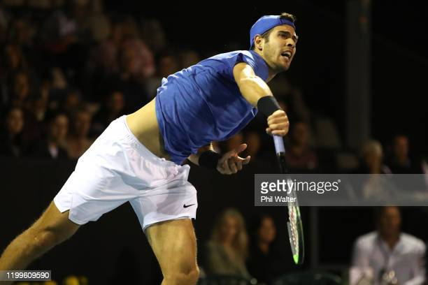 Karen Khachanov of Russia serves during his singles game against John Millman of Australia during day three of the 2020 Men's ASB Classic at ASB...