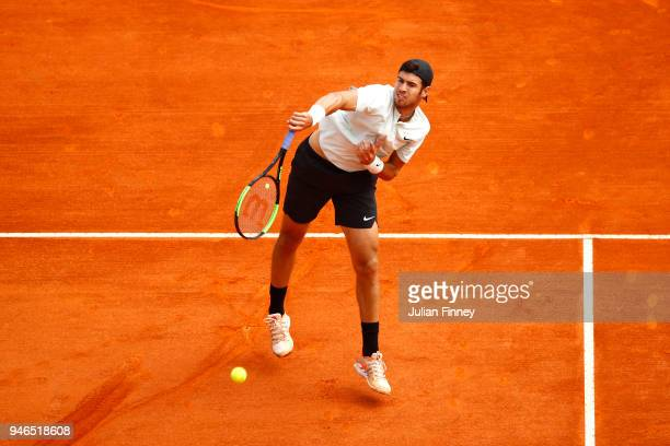 Karen Khachanov of Russia serves during the Round of 64 match between Karen Khachanov and Thanasi Kokkinakis during day one of ATP Masters Series...