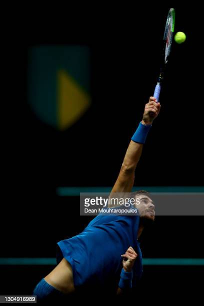 Karen Khachanov of Russia serves in his match against Stan Wawrinka of Switzerland during Day 2 of the 48th ABN AMRO World Tennis Tournament at Ahoy...