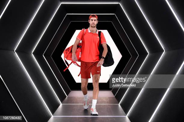 Karen Khachanov of Russia walks onto court ahead of his match with Novak Djokovic of Serbia during the Men's Final during Day Seven of the Rolex...