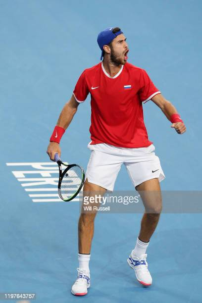 Karen Khachanov of Team Russia celebrates winning his singles match against Taylor Fritz of Team USA during day three of the 2020 ATP Cup Group Stage...