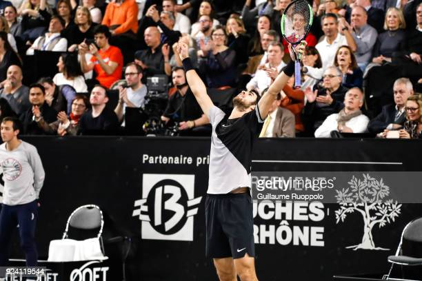 Karen Klaasen celebrae his winning during Single Final of Tennis Open 13 on February 25 2018 in Marseille France