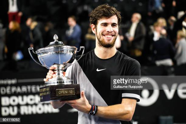 Karen Klaasen celebrae his winning with the trophy during Single Final of Tennis Open 13 on February 25 2018 in Marseille France