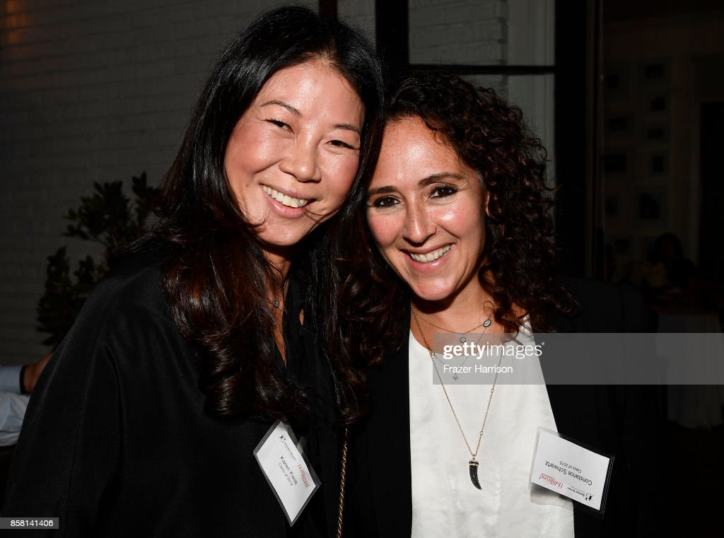 Karen Kwak and Constance Schwartz attend BBBSLA And The Hollywood Reporter's Women In Entertainment Mentor Reunion Cocktail Reception at Private Residence on October 5, 2017 in Los Angeles, California.