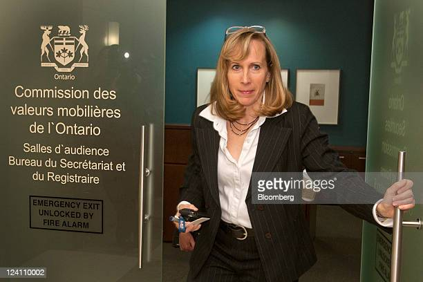 Karen Manarin attorney for the Ontario Securities Commission exits hearing rooms of the OSC in Toronto Ontario Canada on Thursday Sept 8 2011...